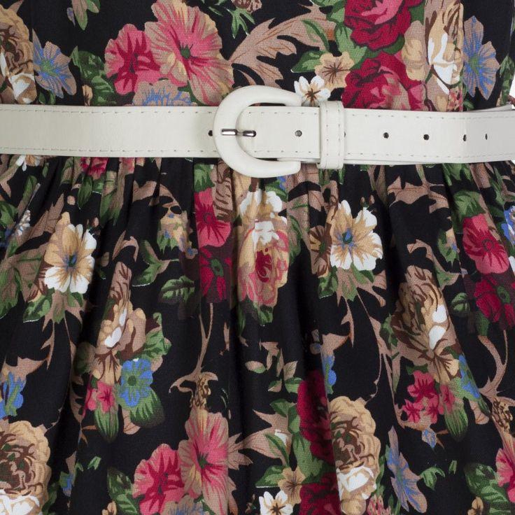$18 Audrey Black Floral Swing Dress | Vintage Style Dresses - Lindy Bop