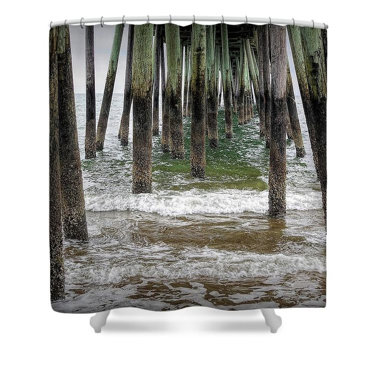 "Under The Pier  Shower Curtain by Leslie Montgomery.  This shower curtain is made from 100% polyester fabric and includes 12 holes at the top of the curtain for simple hanging.  The total dimensions of the shower curtain are 71"" wide x 74"" tall."