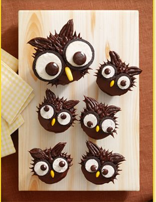 Owl cupcakes...I have made these and they are super simple.  The Eyes are Oreos and mini oreos with one side of the choc cookie taken off and a choc m&m for the center