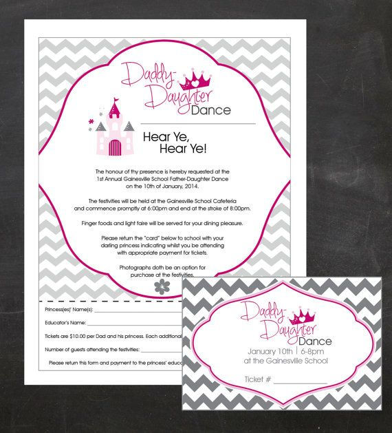 Daddy-Daughter Dance - Event Custom Printable Package - flyer, tickets and poster
