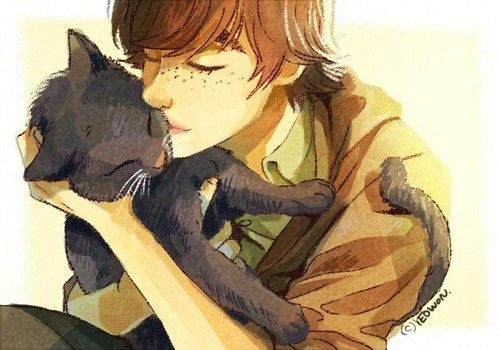 Hiccup and Toothless as a kitty. :)