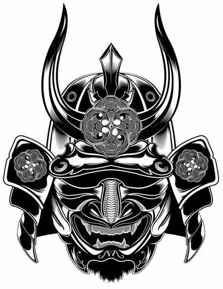 General Etiquetas Ilustracion Mascara Samurai Tattoo Vector 3 Picture