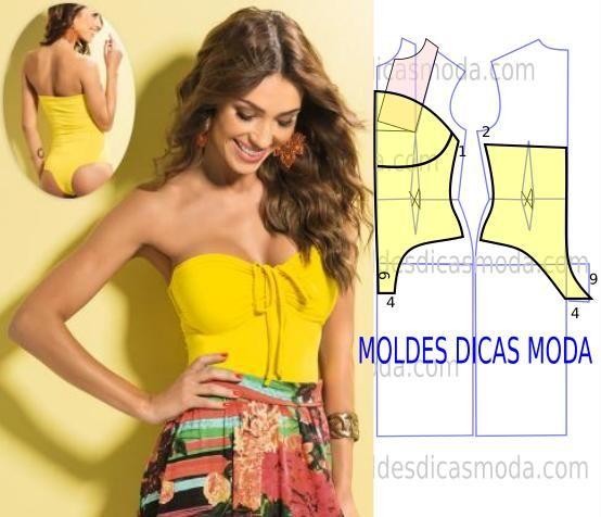 Molde body feminino e descontraído para as mulheres práticas. As medidas do molde body feminino correspondem ao tamanho 38.