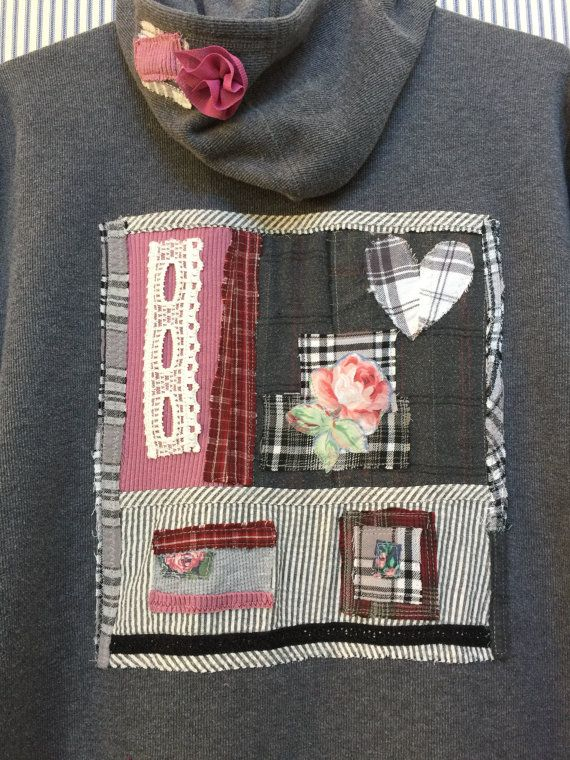 Upcycled plus size Hoodie Fabric Collage by SimplyCathrineAnn