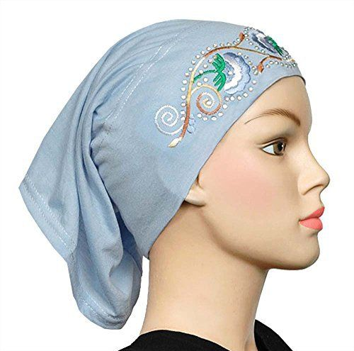 The Cotton Hijab Cap with Embroidery features beautiful, detailed embroidery and 82 rhinestones, which can quickly 'dress up' even the plainest hijab or makes a lovely headband tube cap because it's easy to wear and soft. The Cotton Hijab Cap is shaped like a tube, with two open...