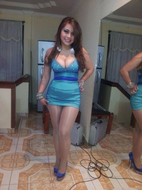 hot curvy girl in glossy pantyhose and tight satin dress