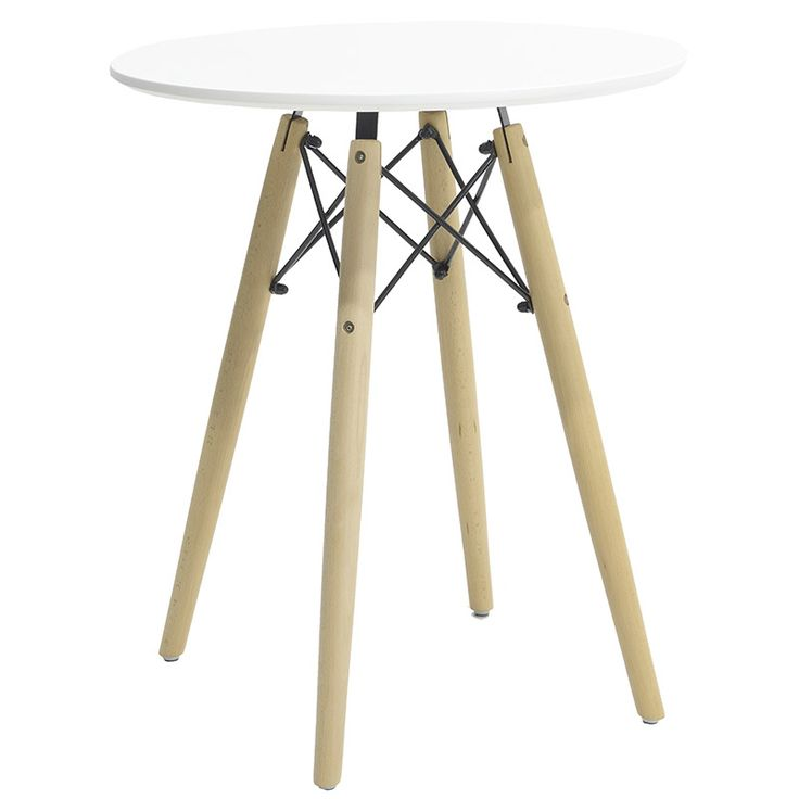 Round table Julita MDF top white F60