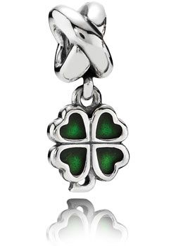 Pandora grünes Kleeblatt Anhänger Silber-Element 790572EN25