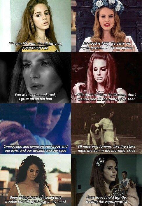 Lana Del Rey - Lyrics from songs ~ Video Games, Born To Die, Blue Jeans, Carmen, National Anthem, Summertime Sadness, Ride, Blue Velvet.