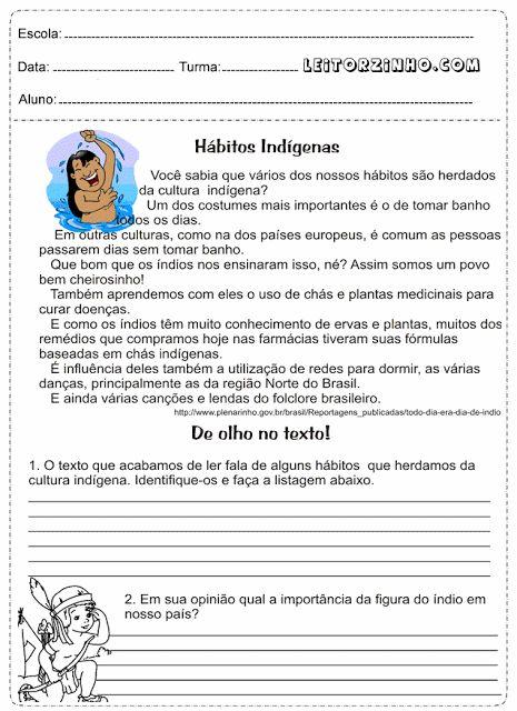 Atividades de português 5 ano Interpretação de texto