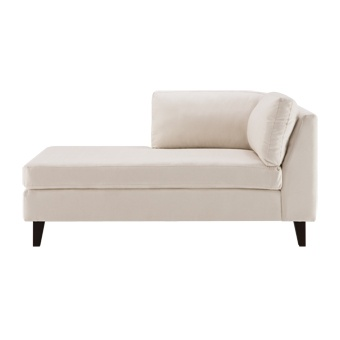 A chaise like this might fit the space too. Lie down to watch TV. Sit up and share the seat with another guest when visiting. Turn around and sit on the end to peruse the books in the library. It's a few inches shorter than a loveseat, so it would fit the space better, and would be visually more open.