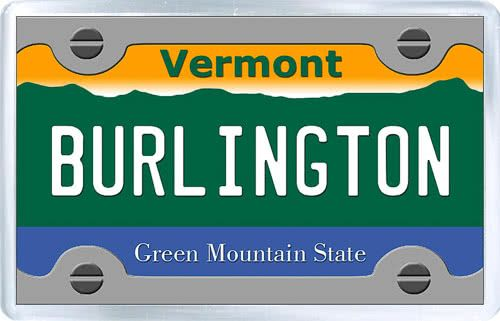 $3.29 - Acrylic Fridge Magnet: United States. License Plate of Burlington Vermont