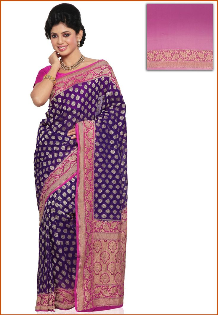 Purple Pure Silk Georgette Saree with Blouse Online Shopping: SEH177