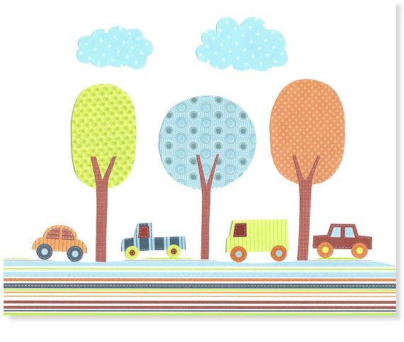Arte de la guardería de coches transporte vivero Boy sala decoración de la sala de juegos Baby Shower Decor azul verde naranja rojo arboles infantiles 8 x 10 o 11 x 14