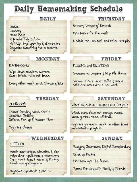 Smile Like You Mean it: Cleaning Schedule. I work from home and would probably rearrange a few days, but this is a handy guide!