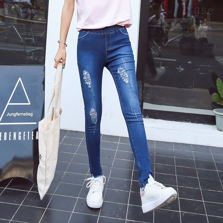 2016 Spring Denim Elastic Slim Ankle-Length Women's Skinny Jeans