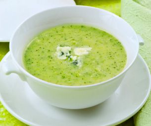 Gordon Ramsay's Broccoli-Soup recipe (video)  Easy to make - water, broccoli, garnished with cheese.