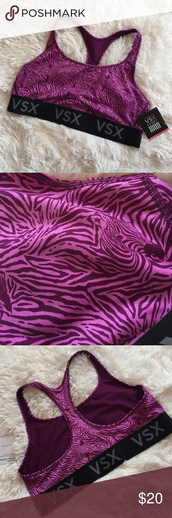"""Victoria Secret Sports Bra Purple Zebra print sports bra. Medium support. Band is 15"""" across laying flat. I am a 36 DD and the band part is a little big but the rest is perfect. Hope this helps. If you have any questions please ask. Never worn NWT Victoria Secret Sport Other"""
