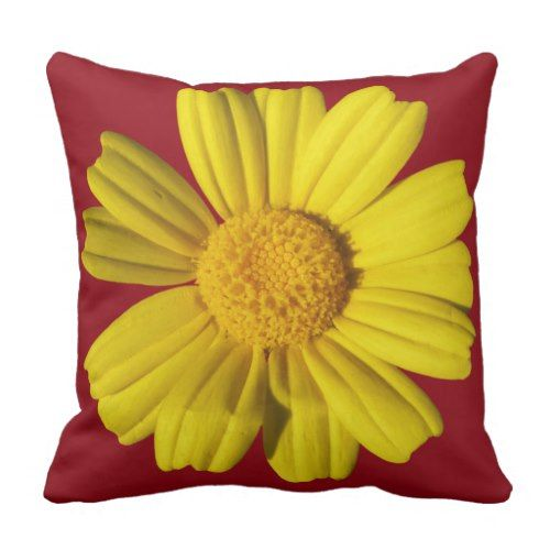 Sunny yellow chamomile throw pillow