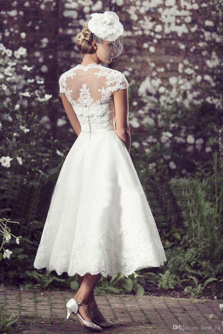 Novia de la vendimia de longitud de té vestidos de boda de la chaqueta 2016 barato de la manga del cortocircuito del cordón con el marco Jardín Vestidos de novia por encargo EN7025