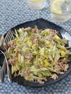Recette Salade de fenouil cru fraîcheur (pour 4 personnes) : - 1 gros fenouil - 1 pomme (fruit) de préférence acide - le jus d'un citron - 2 cuillères à soupe d'huile d'olive - 1 petite boite de thon au naturel - 1 grosse échalote - persil - poivre et sel