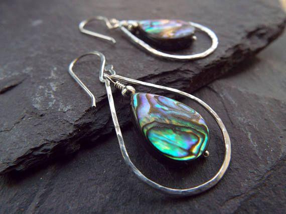 Beautiful Teardrop Stud Earrings Blue Paua Shell Earrings Sterling Silver.