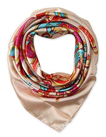 "corciova Elegant Women's Neckerchief Silk Feeling Satin Square Scarf Wrap 35"" Beige $9.99 Free Shipping"