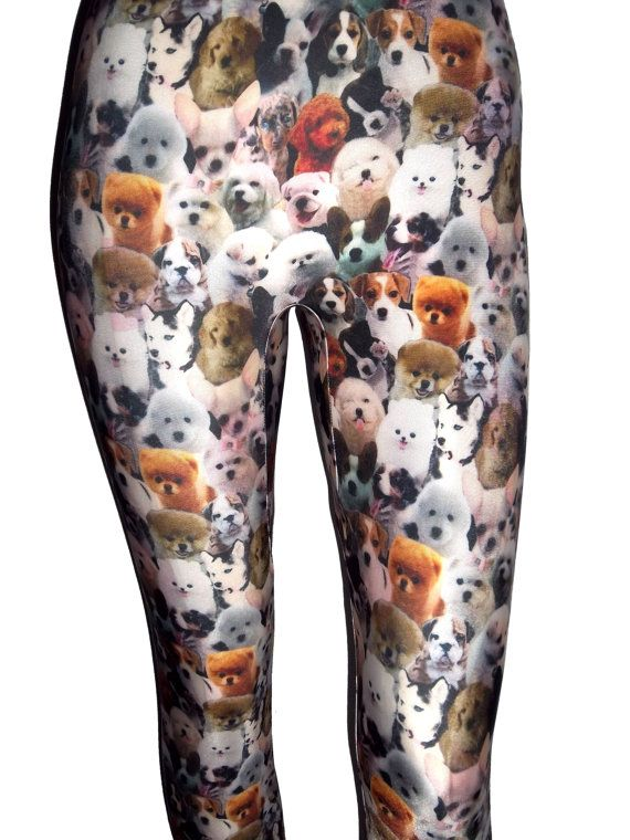 Puppy Leggings Dog Leggings Printed Leggings Yoga by nanmadetoo