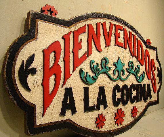 Bienvenidos a la Cocina Rustic Sign Vintage by TheGlitteredPig