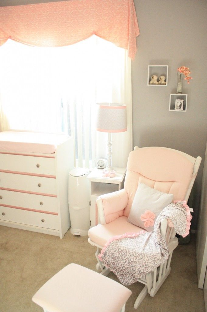 Peach & Gray nursery, beautiful combo! Could always use a little hint of purple too, of course!