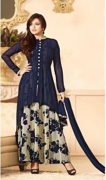 Navy Blue Georgette A Line Style Party Wear Stitched Salwar Kameez with Dupatta |  http://www.bdcost.com/eid+dress