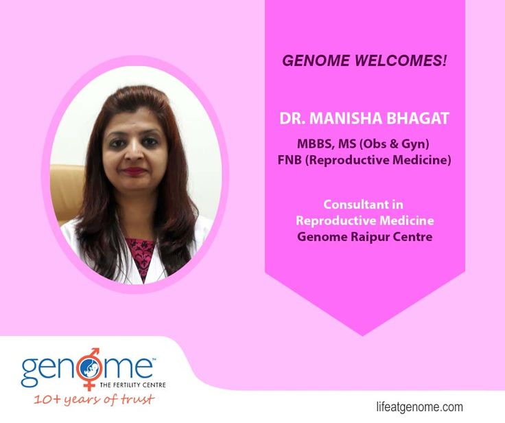 Genome The Fertility Centre congratulates Dr. Manisha Bhagat MBBS, MS (Obs & Gyn), FNB (Reproductive Medicine) for joining our Raipur Centre as a Consultant in Reproductive Medicine. We welcome you to our GENOME Family!