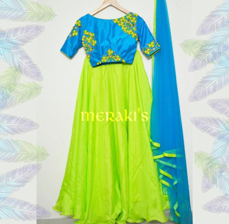 Haven t tried the crop tops yet? Here is the beautiful turquoise blue and bright green lehenga for this festive season!! For orders Whatsapp/call 9059915853
