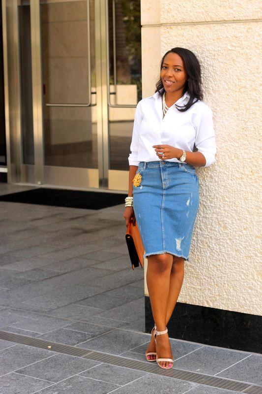Classy Modest Outfit Inspiration White button up shirt over blue knee length denim skirt