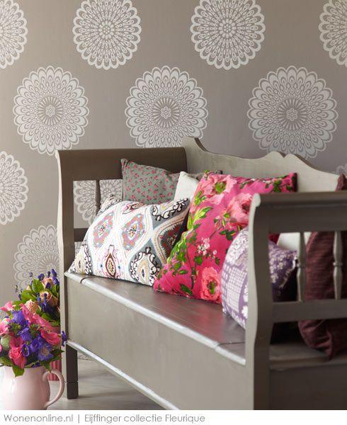 Eijffinger Fleurique Patterns and Mix match throw pillows- Love it!