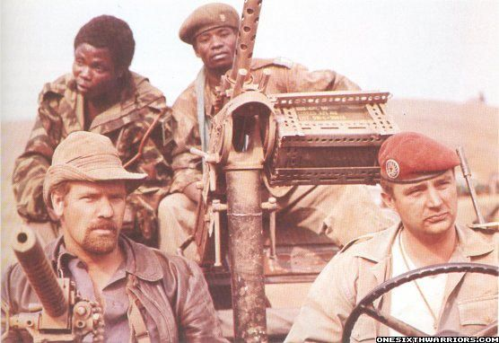 "A British and a French mercenary (former paratrooper) with two ""gendarmes katangais"", early 1960's."