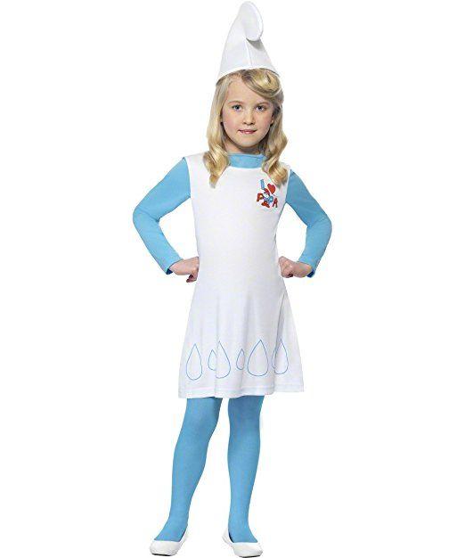 Original Die Schlümpfe Lizenz Schlumpfkostüm Schlumpfine Kostüm für Kinder Kinderkostüm der blauen Schlümpfe blau blond Smurfs Fasching KarnevalGr. 98-104 (T), 110-122 (S), 128-134 (M), 140-158 (L), Größe:T2