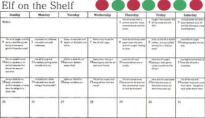 A month's worth of Elf on the Shelf ideas.