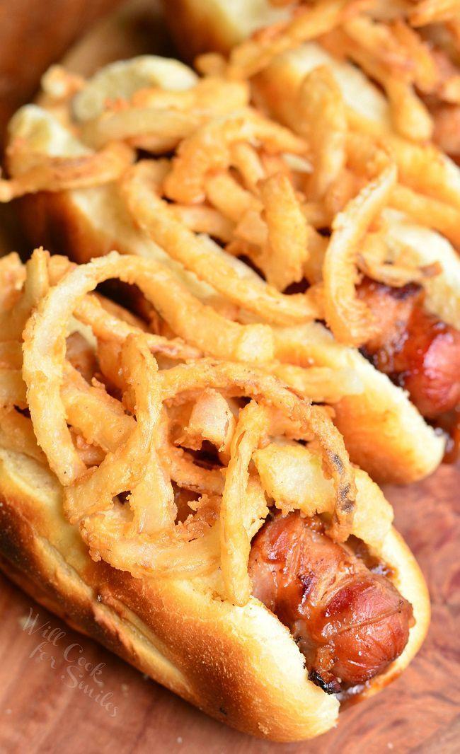BBQ Bacon & Crispy Onion Hot Dogs
