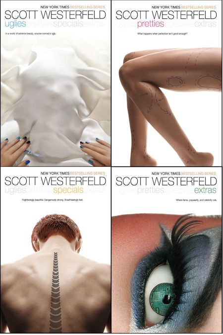 Each book has all the titles across the top. (side note: I didn't even read what they were about. just drawn to the covers.)    http://www.amazon.com/Uglies-The-Scott-Westerfeld/dp/1442419814/ref=sr_1_1?ie=UTF8=1351369481=8-1=scott+westerfeld+uglies+series
