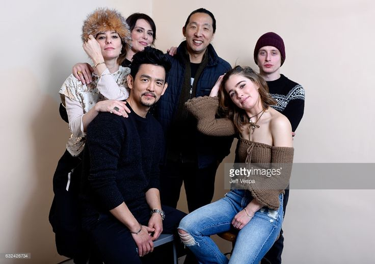 Actresses Parker Posey, Michelle Forbes, filmmaker Kogonada, actor Rory Culkin (front L-R) actors John Cho and Haley Lu Richardson from the film 'Columbus' pose for a portrait in the WireImage Portrait Studio presented by DIRECTV during the 2017 Sundance Film Festival on January 22, 2017 in Park City, Utah.