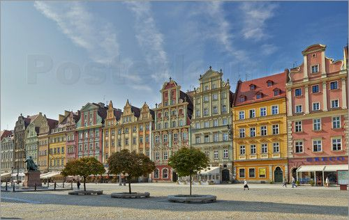 poster historical buildings with colorful facades on Market Square or Ryneck of Wroclaw