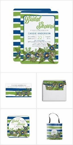 Blue | Green Tropical Stripes Floral Bridal Shower: In shades of lapis lazuli blue and the greenest greenery, this tropical themed, botanical Bridal Shower design is great for spring or summer Bridal Showers. Features irregular watercolor style stripes with modern floral graphics. Items in this collection include invitations and shower accessories as well as great solutions for bridal bridesmaid favors. #bridalshower #blueandgreen #tropical #floral #modern #bridal #wedding #eventplanners…