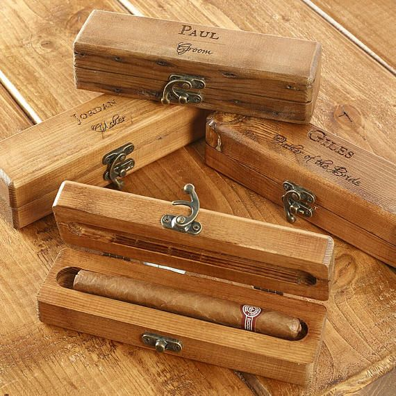These are lovely handmade, solid wood, individual cigar boxes, personalised as requested by you.  We use high quality reclaimed wood where possible & solid new wood to create these boxes. They are stained and waxed with premium bees wax and finished with a vintage swing clasp.  Choose the design that you require and provide us with the name that is to be engraved.  They are perfect gifts for your ushers, groom, best man, father of the bride, father of the groom.  The boxes are sold empty ...