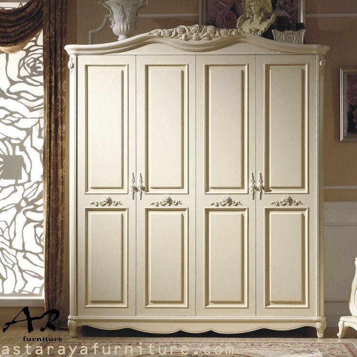 Lemari Pakaian 4 Pintu Minimalis Ukir Furniture Terbaru
