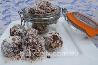 Coconut kisses. Full recipe here: http://www.bellybelly.com.au/recipes-cooking/coconut-kisses-recipe-a-healthy-lunchbox-or-coffee-morning-snack