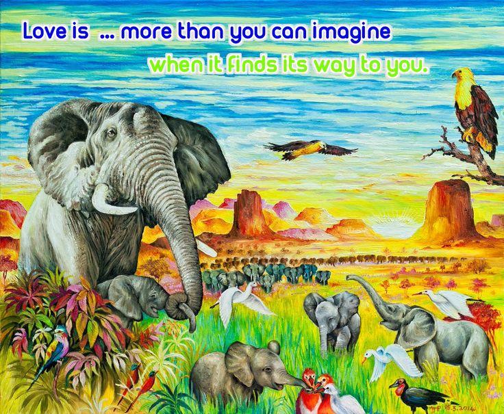 LOVE IS ...VERSE  www.zazzle.co.uk/kompas #love #alanjporterart #kompas #elephants #africa #beautiful #quote #spirit #soul #verse #zazzle #birds #sun