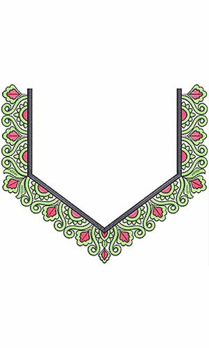 Indian Culture Neck Embroidery Design