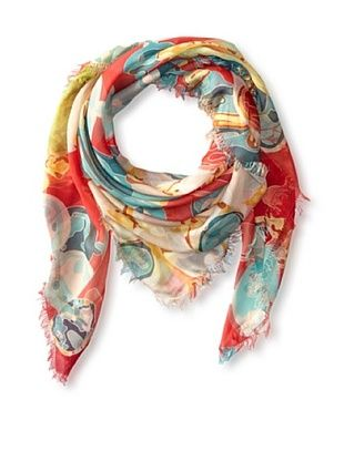 58% OFF Kenneth Jay Lane Women's Shells Square Scarf, Coral Multi