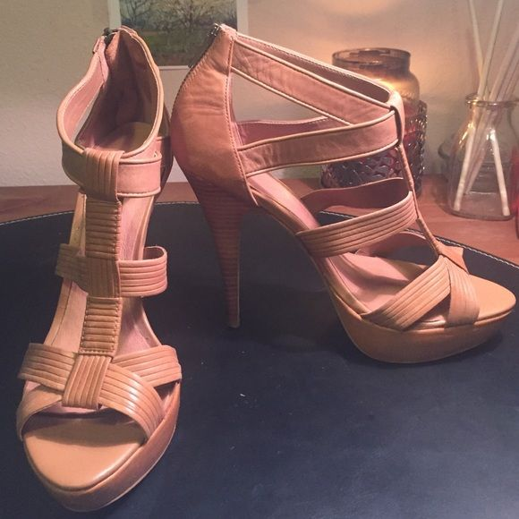 Tan strappy heels Gently used like new tan faux leather strappy heels ALDO Shoes Heels